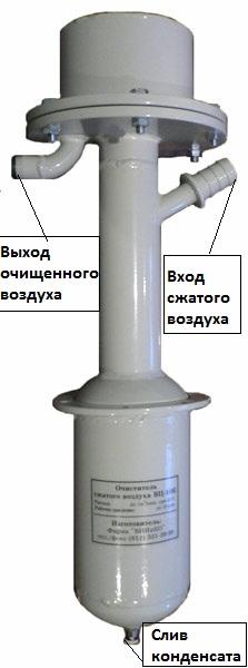 ВЦ-10К - очиститель сжатого воздуха (влагоотделитель) от конденсата влаги, масла и механических частиц