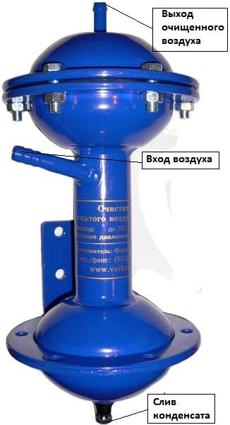 ВЦ-3.К - очиститель сжатого воздуха (влагоотделитель) от конденсата влаги, масла и механических частиц